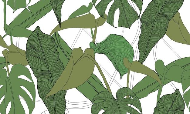 Modèle sans couture tropical de vecteur plantes exotiques