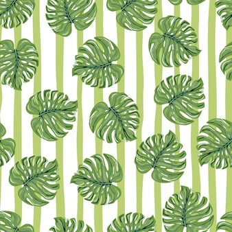 Modèle sans couture tropical vintage avec des feuilles de monstera sur fond rayé.