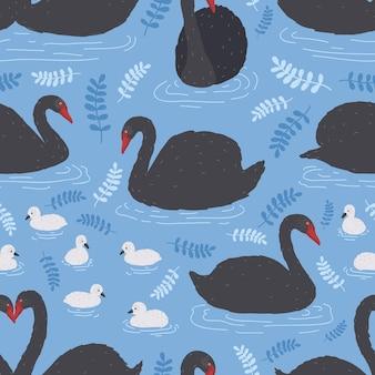 Modèle sans couture avec troupeau de cygnes noirs et cygnets flottant dans l'eau, l'étang ou le lac.