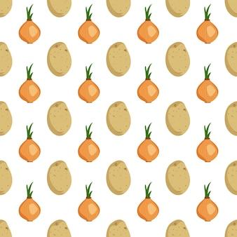 Modèle sans couture avec des tubercules de pommes de terre et des oignons récolte de légumes imprimer fond d'été ou d'automne