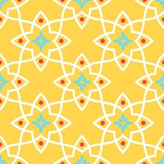 Modèle sans couture tuile de céramique ornemental arabe jaune