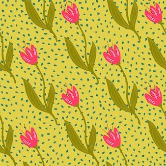 Modèle sans couture de tulipe abstraite sur fond de points.