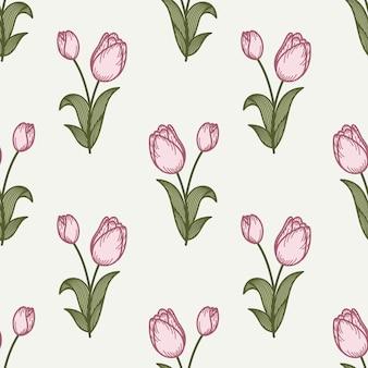 Modèle sans couture de tulipe dans un style de dessin de la main.