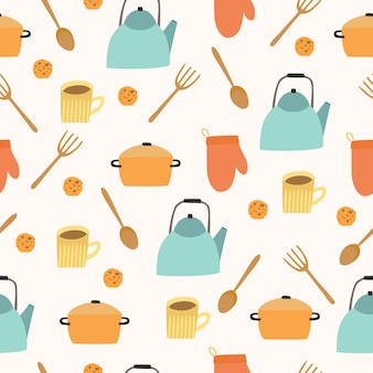 Modèle sans couture d & # 39; ustensiles de cuisine