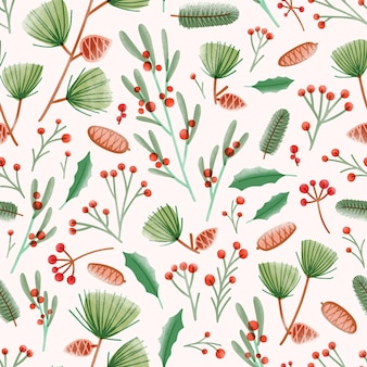 Modèle sans couture de vacances avec des feuilles de houx, du gui, des pommes de pin, des aiguilles et des branches sur une surface blanche
