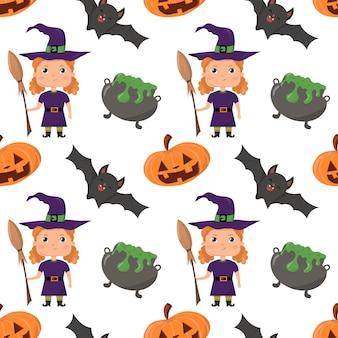 Modèle sans couture de vacances d'halloween avec la chauve-souris de chaudron de sorcière de balai de citrouille sur le fond blanc