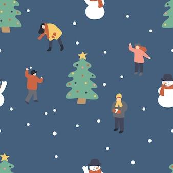 Modèle sans couture de vacances d'hiver de noël et de nouvel an avec les gens s'amusent et jouent aux boules de neige