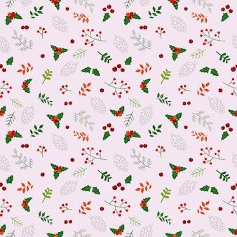 Modèle sans couture de vacances de noël avec des fleurs et des feuilles