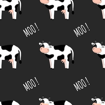 Modèle sans couture avec des vaches mignonnes. fond avec des animaux de la ferme. papier peint, emballage. illustration vectorielle plane
