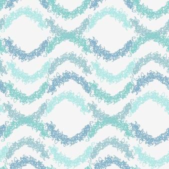 Modèle sans couture de vagues abstraites demi-cercles bouclés bleu pastel