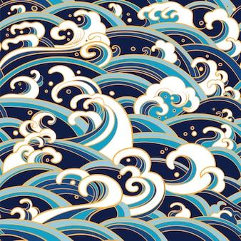 Modèle sans couture avec des vagues d'eau et des éclaboussures