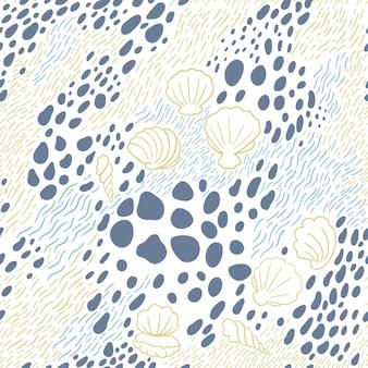 Modèle sans couture avec des vagues de la mer dessinées à la main