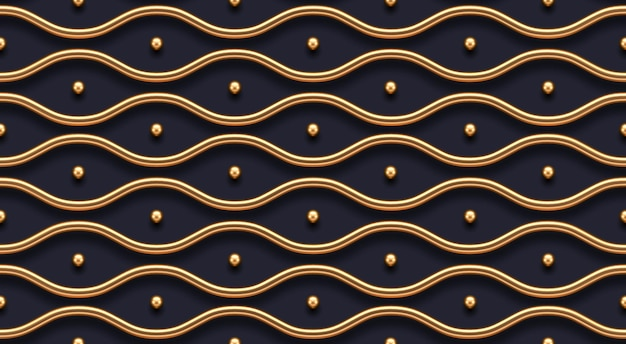 Modèle sans couture. vagues de métal doré réalistes sur fond sombre. fond d'écran de luxe de vecteur.