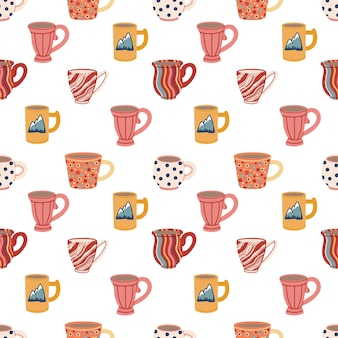Modèle sans couture avec de la vaisselle en céramique mignonne de tasses et de tasses