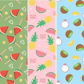 Modèle sans couture de variété de fruits tropicaux d'été