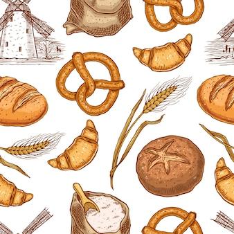 Modèle sans couture avec une variété de produits de boulangerie