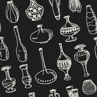 Modèle sans couture avec des vases