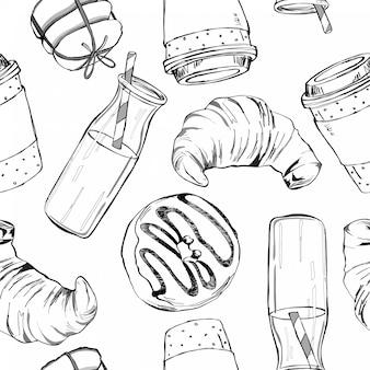 Modèle sans couture de vecteur avec des aliments et des boissons.