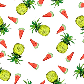 Modèle sans couture de vecteur à l'ananas