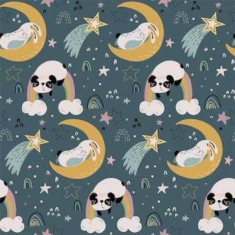 Modèle sans couture de vecteur avec des animaux mignons volant et dormant sur la lune et l'arc-en-ciel