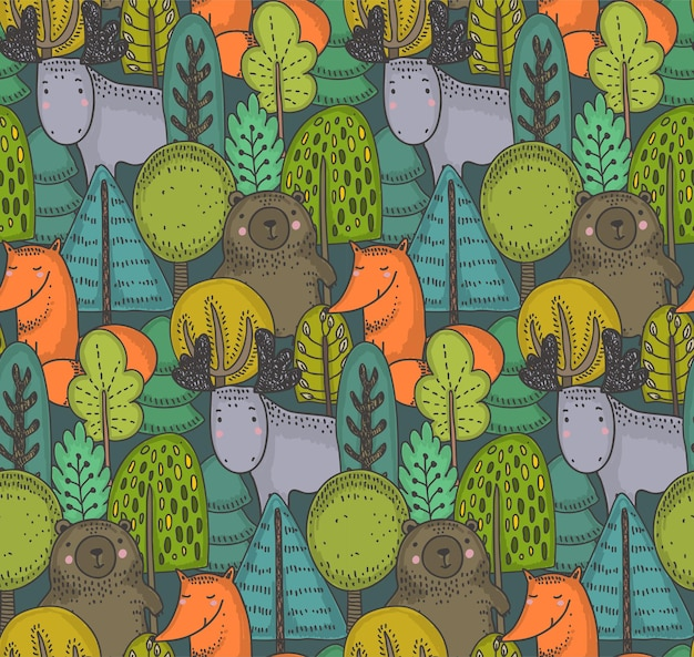 Modèle sans couture de vecteur avec arbres animaux de la forêt sauvage dessinés à la main
