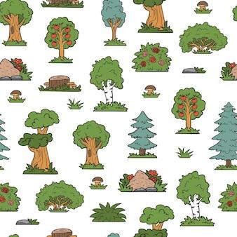 Modèle sans couture de vecteur, arbres et buissons. forêt colorée