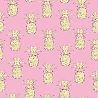 Modèle sans couture de vecteur aux ananas