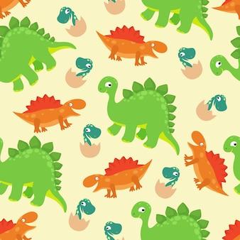 Modèle sans couture de vecteur bébé dinosaure dessin animé pour le design de mode fille