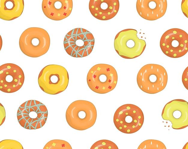 Modèle sans couture de vecteur de beignets colorés