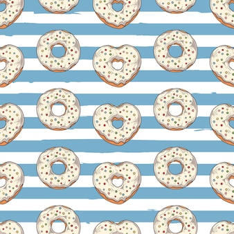 Modèle sans couture de vecteur. beignets glacés à décor de garnitures, chocolat, noix.