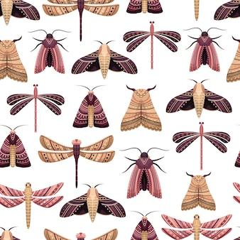 Modèle sans couture de vecteur avec boho papillons et libellules.