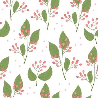 Modèle sans couture de vecteur botanique avec des plantes et des fleurs