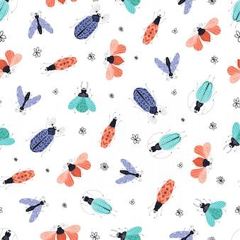 Modèle sans couture de vecteur - bug de dessin animé ou coléoptère, plat