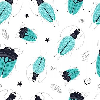 Modèle sans couture de vecteur. bug de dessin animé, scarabée