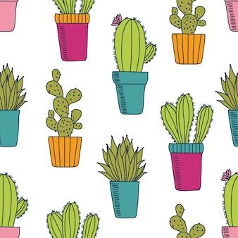 Modèle sans couture de vecteur avec cactus