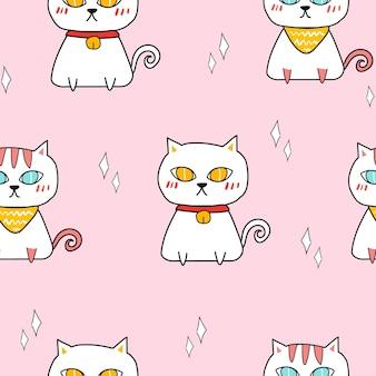 Modèle sans couture de vecteur de chat coloré mignon.