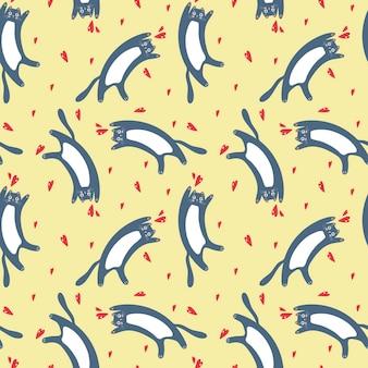 Modèle sans couture de vecteur avec des chats domestiques bleus et des coeurs sur fond jaune