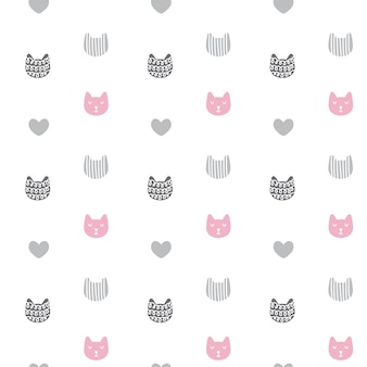Modèle sans couture de vecteur avec des chats texturés dessinés à la main dans un style graphique doodle