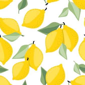 Modèle sans couture de vecteur de citron et de feuilles.