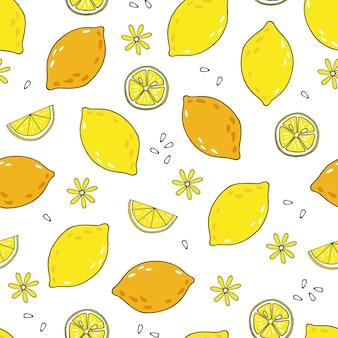 Modèle sans couture de vecteur avec des citrons et des graines sur fond blanc