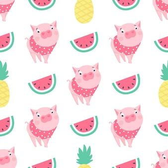Modèle sans couture de vecteur avec des cochons drôles. symbole de 2019 sur le calendrier chinois. fond de cochon isolé sur blanc. animaux de dessin animé pour papier d'emballage, cartes, literie. conception d'enfants.