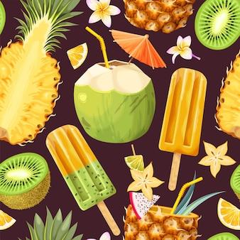 Modèle sans couture de vecteur avec des cocktails tropicaux