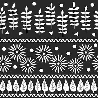 Modèle sans couture de vecteur. conception de toile de fond de carte de voeux. fond dessiné à la main avec des arbres, des fleurs et des feuilles