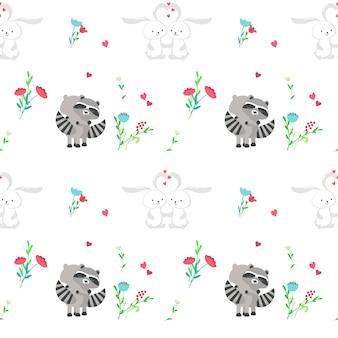 Modèle sans couture de vecteur avec des couples d'animaux mignons