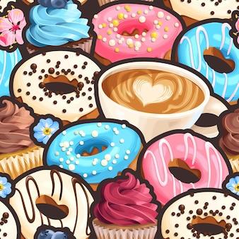 Modèle sans couture de vecteur avec des cupcakes et des beignets glacés multicolores