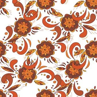 Modèle sans couture de vecteur dans le style traditionnel russe khokhloma