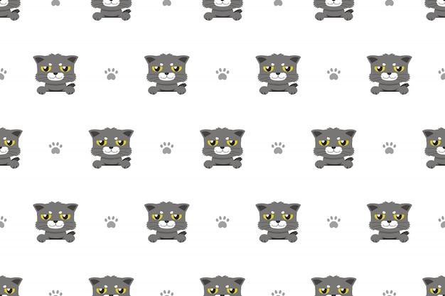Modèle sans couture de vecteur dessin animé personnage chat gris