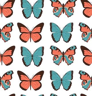 Modèle sans couture de vecteur de dessin animé plat coloré avec différents papillons