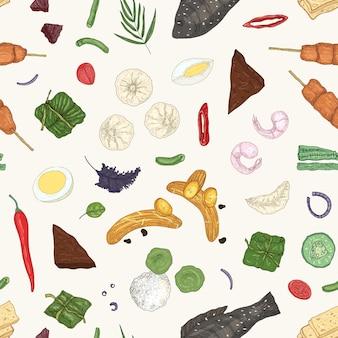 Modèle sans couture de vecteur dessiné main cuisine malaisienne. plats orientaux, repas sur fond blanc. texture décorative réaliste culinaire. papier peint de restaurant asiatique, idée de conception de papier d'emballage.