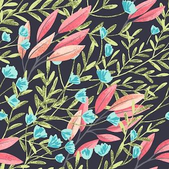 Modèle sans couture de vecteur dessiné main dans un fond sombre avec des fleurs et des feuilles et texture douce.